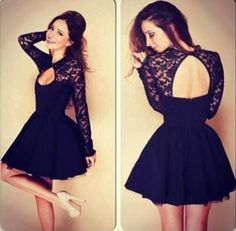 Wholesale Junior Homecoming Dresses - Buy 2015 New Spring Lace Applique Short Junior Homecoming Dresses With Long Sleeve Open Back A-line Mini Prom Party Graduation Girl Dress