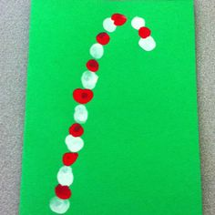 Candy cane fingerprint Christmas cards!