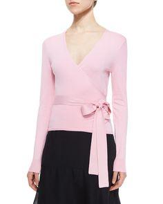 Diane von Furstenberg Long-Sleeve Ballerina Wrap Sweater, Pink Ice, Women's, Size: MEDIUM
