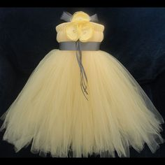 Grey Yellow Flower Girl Dress by StrawberrieRose on Etsy, $89.95