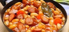 Bean soup with sausage, my country's national food. Hungarian Recipes, Russian Recipes, Baked Bean Recipes, No Cook Desserts, Baked Beans, Bean Soup, Food 52, Food Photo, I Foods
