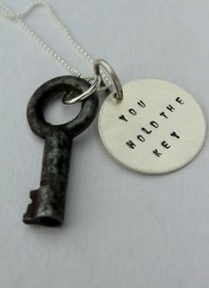 Inspirational You Hold the Key Quote Necklace by whiteliliedesigns