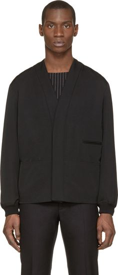 Lemaire Black Y-Neck Wool Jacket