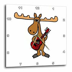 "3dRose dpp_196090_2 Funny Moose Playing Guitar Wall Clock, 13 by 13"" 3dRose http://www.amazon.com/dp/B00NW019EG/ref=cm_sw_r_pi_dp_iic4wb1008ADE"