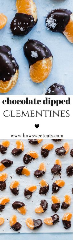 these Chocolate Dipped Clementines make for the perfect after school snack! I howsweeteats.com