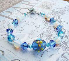 Sapphire Blue Bracelet Swarovski by Willows3Creations on Etsy