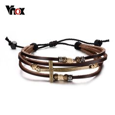 Fashion Leather Cross Bracelets & Bangles For Men Adjustable Charm Men Chain Jewelry Religious Jesus