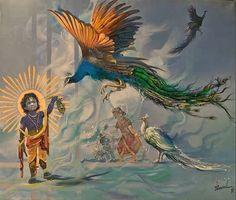 Kala Ksetram, Krishna by Bijay Biswaal Arte Krishna, Bal Krishna, Radha Krishna Love, Lord Krishna, Krishna Lila, Artist Painting, Artist Art, Art Drawings Sketches Simple, Indian Artwork