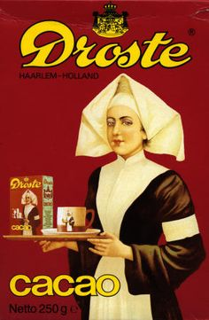 """Haarlem """"Droste effect"""" - The Dutch chocolate maker Droste, famous for the visual effect on its boxes of cocoa. The image contains itself on a smaller scale. This is called the """"Droste effect"""" Droste Effect, Pub Vintage, Vintage Style, Going Dutch, Poster S, Dutch Recipes, Chocolate Factory, Leiden, Vintage Advertisements"""