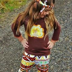 """""""Thanksgiving Tribal Turkey Boutique Outfit"""" - $24.99 www.honeybeebowcompany.com  You will love our ruffle turkey boutique outfit! Perfect for your little princess to wear to all the Fall festivities and Thanksgiving!"""