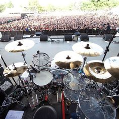 DW drum kit for Brent Fitz of Slash. Picture taken at Louder than Life in Louisville KY.
