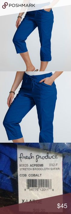 Cobalt Blue Semi-Stretch Safari Capris PRODUCT DESCRIPTION: Breathable and stretch-kissed, these cotton-blend capri pants feature handy side pockets and an adjustable tie-waist for a custom fit. * 22.25'' inseam * 97% cotton / 3% spandex These are NWT in package. I bought these online and they sent wrong color and I can't return, so my loss is your gain. These are awesome, they can be dressed up or down and seems like they will be cool for summer. Let me know if you have anymore questions…