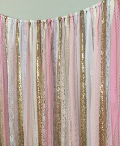Pink Ombre & Gold Sequin Sparkle Fabric Backdrop by ohMYcharley
