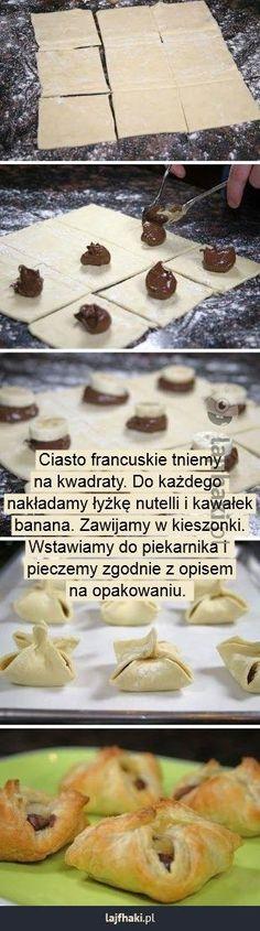 Proste i szybkie przekąski na słodko - Ciasto francuskie tniemy na kwadraty. Do każdego nakładamy łyżkę nutelli i kawałek banana. Zawijamy w kieszonki. Wstawiamy do piekarnika i pieczemy zgodnie z opisem na opakowaniu.
