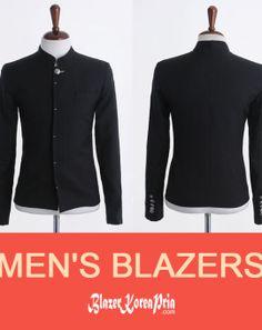 Blazer Korea Pria Upright Collar Silver Button