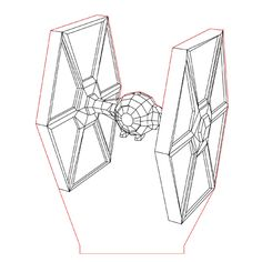TieFighter 3d illusion lamp plan vector file for CNC - 3bee-studio