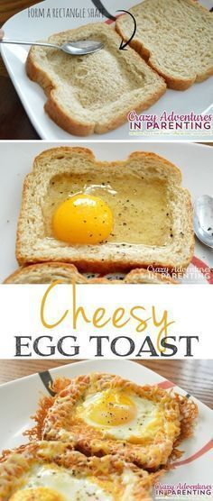 Baked Egg Toast - Quick, fast and easy breakfast recipe ideas for a crowd. Cheesy Baked Egg Toast - Quick, fast and easy breakfast recipe ideas for a crowd.Cheesy Baked Egg Toast - Quick, fast and easy breakfast recipe ideas for a crowd. What's For Breakfast, Breakfast Dishes, School Breakfast, Fun Breakfast Ideas, Breakfast Casserole, Egg Recipes For Breakfast, Avacado Breakfast, Fodmap Breakfast, Healthy Breakfast For Kids