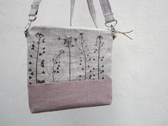 Reserved Zipper Purse hand stamped fabric hand by TwoLittleAnts