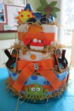 Beach Diaper Cake love the flip flops