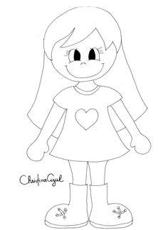 """Christina Azul: Molde """"menininha caderno"""""""