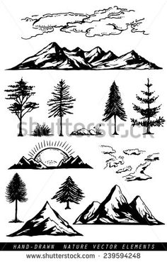 Hand Drawing Mountains Pines Clouds Plants Stock Vector (Royalty Free) 239594248 Hand drawing mountains pines clouds and plants vector illustration , Mountain Silhouette, Tree Silhouette, Silhouette Painting, Tree Illustration, Illustration Sketches, Mountain Illustration, Mountain Sketch, Mountain Drawing Simple, Pine Tree Painting