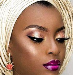 Flawless Makeup, Gorgeous Makeup, Eyebrow Makeup, Eyeshadow Makeup, Glitter Makeup, Maquillage Black, Eyebrows, African American Makeup, Dark Skin Makeup