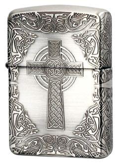 Armor Zippo Lighter Celtic Design Four Sides Design Silver