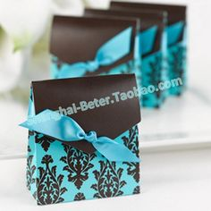 Damask Favor Bags in Turquoise and Brown TH013 Wedding Favor Boxes