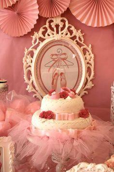 Gorgeous cake at a Pink Ballerina Birthday Party via Kara's Party Ideas | Kara'sPartyIdeas.com