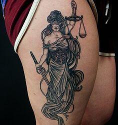 Sexy lady justice tattoo patterns