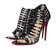 bafbea263dc Her strappy upper forms perfectly to the foot for a sexy fit with a fetish  flair. In black patent leather