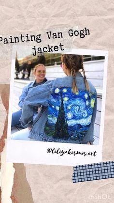 Painting Van Gogh starry night denim jacket diy video Hand painted custom jacket with Van Gogh Starry Night painting on vintage denim Custom clothing Fashion week outfit. Denim Jacket Diy, Jean Jacket Outfits, Denim Jacket Patches, Painted Denim Jacket, Levis Jacket, Denim Shirt, Burning Man Costumes, Burning Man Outfits, Denim Vintage