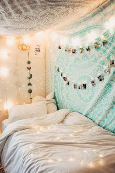 Lady Scorpio | @Ladyscorpio101 ☽☽ ladyscorpio101.com ☆ Perfect Bedroom Decor for the Hippie at heart ♡ Alexa Halladay is Boho Bungalow - Tapestry with Copper Fairy Lights! Including Moon Phase Wall Hangings! Mermaid Seafoam green/blue Ocean themed Room Mandala Tapestry | Ladyscrpio101 #teengirlbedroomideasthemes