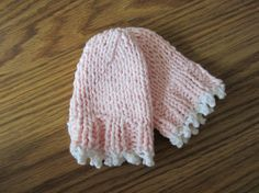 Hand Knit Picot Edge Pink and White Baby Mitts