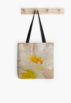 """White Begonia Ruffles "" Tote Bags by Sandra Foster 
