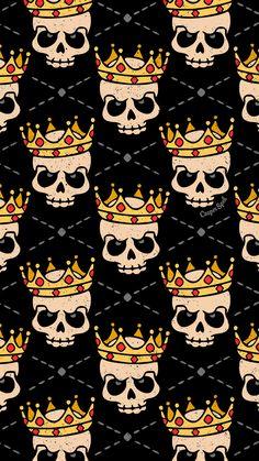 Skull Royal Royalty King Repeat Pattern Wallpaper Screensaver phone surface design art illustration drawing dark Halloween creepy spooky cute Casper Spell (www.casperspell.com)