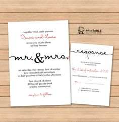 Free PDF wedding templates with easy to edit textboxes– Calligraphy Wedding Invitation and RSVP