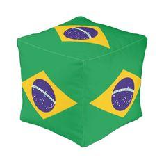 Brazil flag Brazilian pouf
