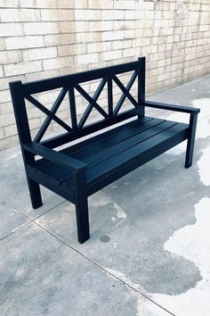Woodworking - DIY Farm House Porch Bench with X Styled Backs Wood Bench With Back, Diy Wood Bench, Bench Decor, Wood Benches, Porch Furniture, Diy Outdoor Furniture, White Outdoor Bench, Ana White Bench, Outside Benches