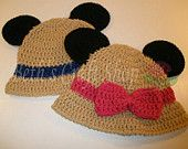 Disney Minnie & Mickey Mouse Safari Hat - Crochet Hat - MADE TO ORDER
