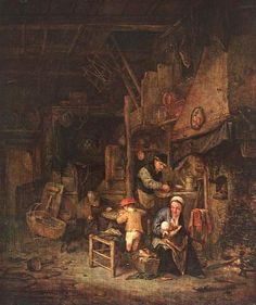 Interior with Peasant Family by Adriaen Ostade   1647
