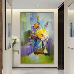 Original gold acrylic flowers abstract paintings on canvas wall art pictures for living room hallway wall decor thick texture quadros decor Abstract Canvas, Canvas Wall Art, Abstract Paintings, Acrylic Canvas, Acrylic Painting Flowers, Abstract Flowers, Decoration Gris, Art Mur, Hallway Wall Decor