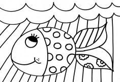 Romero Britto para colorir - Peixe 3