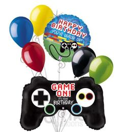 """Included in this bouquet: 7 Balloons Total 1 - 36"""" """"Game On! It's Your Birthday"""" Controller Shape Balloon 1 - 18"""" """"Happy Birthday You've Leveled Up"""" Round Balloon 5 - 12"""" Solid Colored Balloons (Yello"""