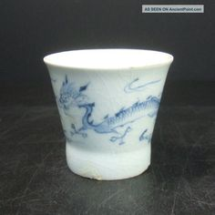 F313: Real Japanese Old Imari Blue - And - White Soba Soup Cup With Dragon In 1700s Glasses & Cups photo