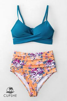 7474706de1 Slip into Cupshe Summer Dream Blue Wrap And Floral High-waisted Bikini. Fun  and functional swimwear at affordable prices.