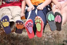MAKE animal TRACKS using flip flops and craft foam!!