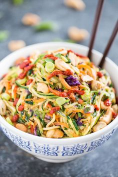 Paleo Rainbow Veggie Dragon Noodles (can do with chicken, shrimp, etc. too!)