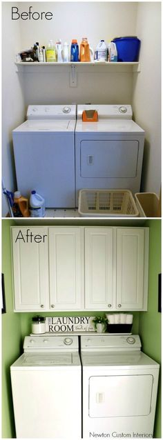 Tiny laundry room layout before and after pictures.  Lots more space with the cabinets in this small laundry room!