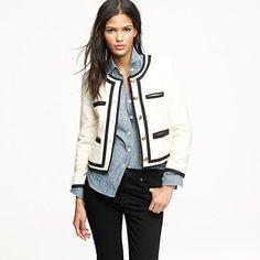 J Crew Fanfare jacket in winter tweed Cute Blazers, Chanel Jacket, Look Fashion, Fashion Pics, Classic Fashion, Fashion 2017, Fashion Ideas, Tweed Jacket, Facon